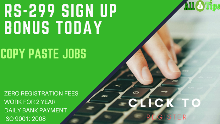 FREE Copy Paste Jobs (Offline) –& Sign Up Bonus Rs-299/-