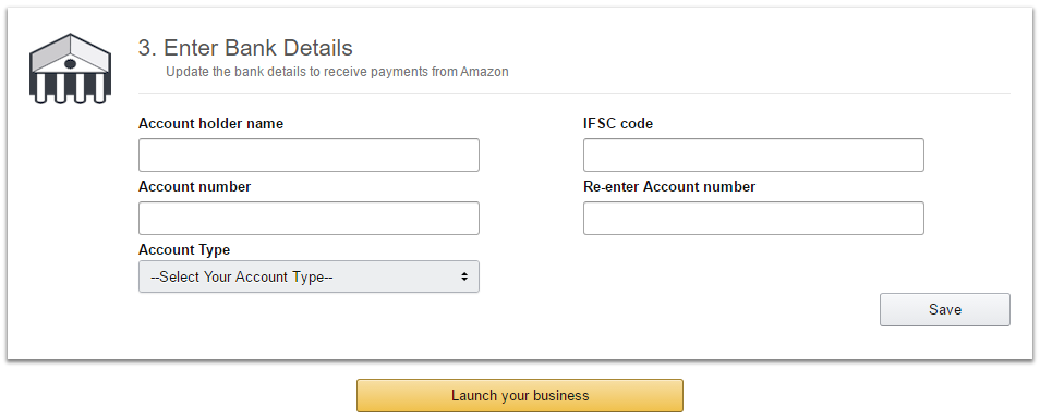 Enter Bank Details in Amazon Seller account